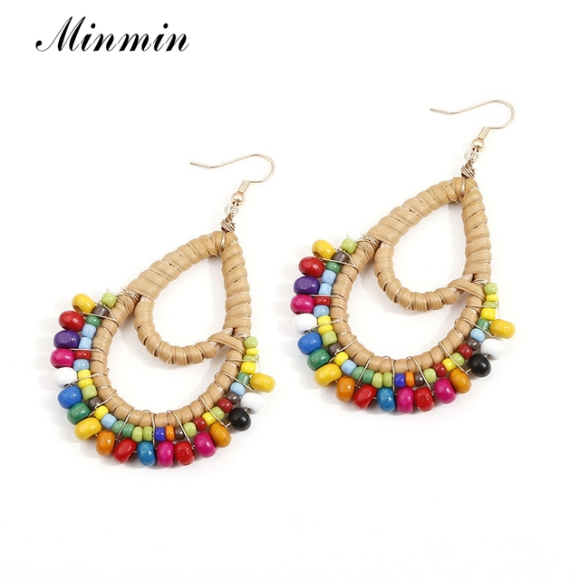 Minmin/фирменный дизайн, серьги из ротанга для женщин, ручная работа, каплевидные деревянные бусины, плетеная оплетка, Висячие геометрические серьги EH1622