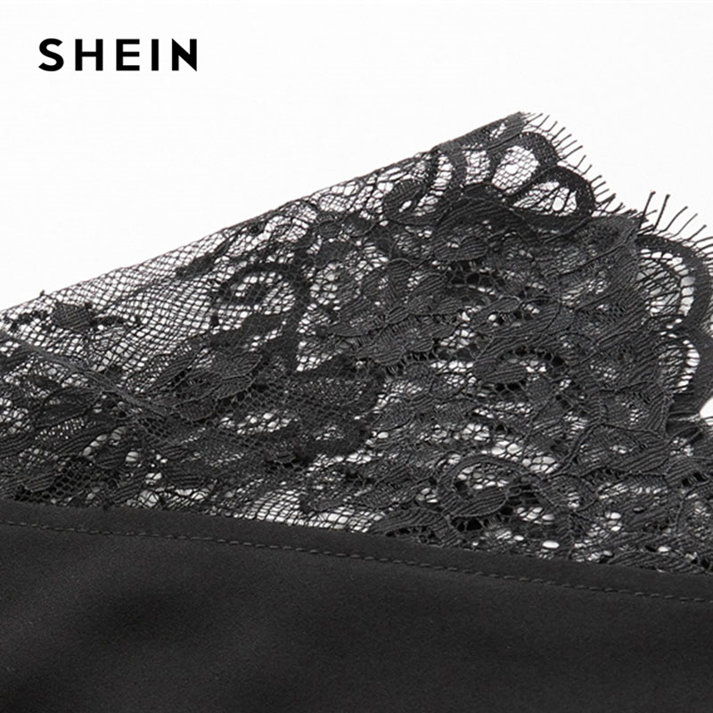 SHEIN Floral Lace Cap Sleeve Blouse Black Peter pan Collar Button Women Elegant Top Summer Short Sleeve Plain Workwear Blouse