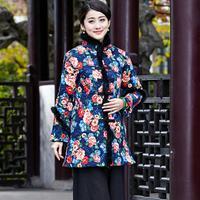Yüksek Kalite Çin kadın Uzun Pamuk Ceket Kalın Sıcak Ceket Sonbahar kış dış giyim palto vintage çiçekler sml xl xxl xxxl