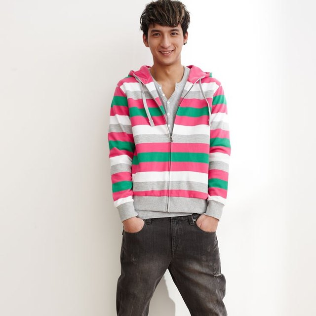 4d2348d030 Ampm male multi-colored stripe with a hood sweatshirt cardigan 614016 259