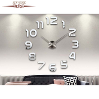 Hot Minimalist Diy Creative Wall Clock, 3d Personality Living Room Wall Stickers Wall Clock.
