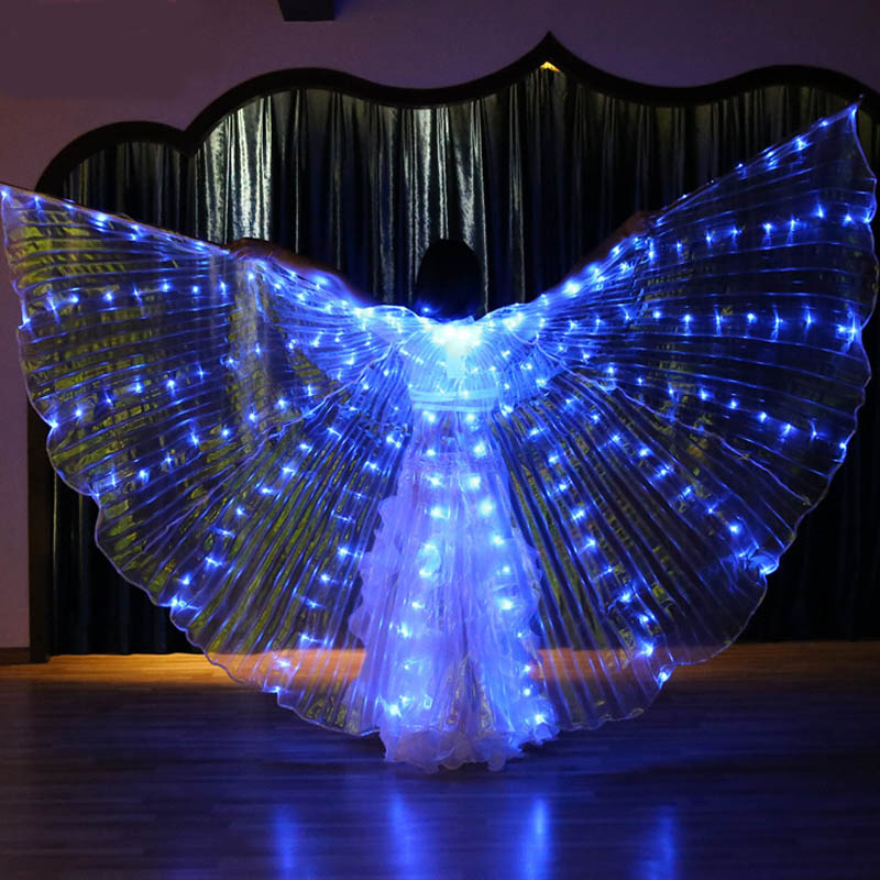 2019 Women LED Light Isis Wings Belly Dance Costumes 360 Degree Stage Performance Bellydance Butterfly Wings With Sticks