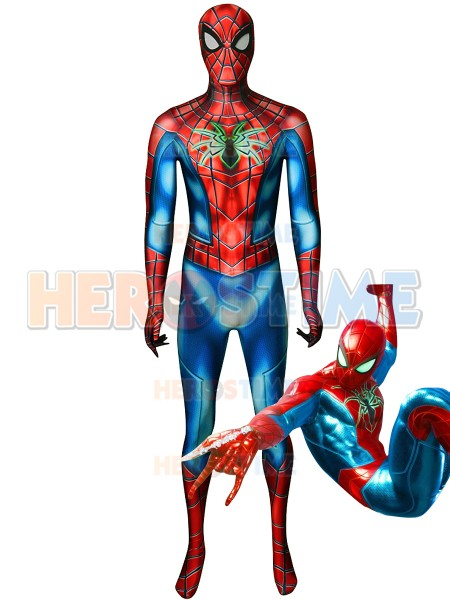 Armored Spider-man PS4 Games Cosplay Costume 3D print lycra Spandex Zentai Spider Armor MK IV Spidey Suit with Spiderman Lenses