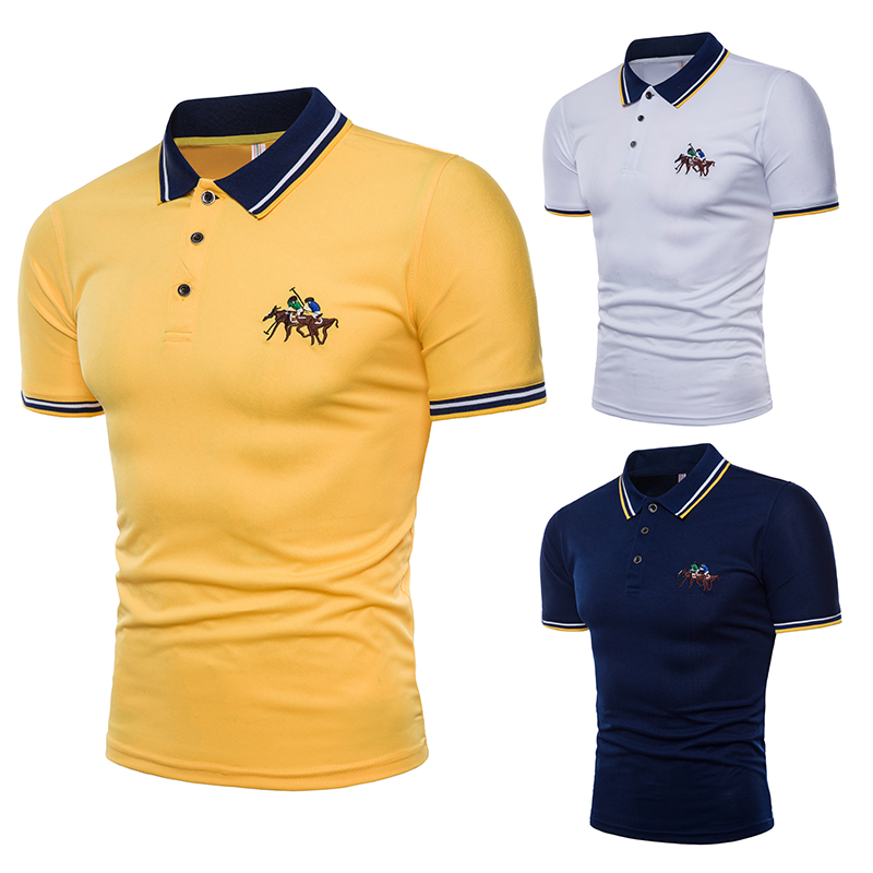 YIHUAHOO   Polo   Shirt Men High Quality Slim Fit Mens Cotton Short Sleeved Summer Shirts Brand Jerseys   Polos   Para Hombre Size M-4XL