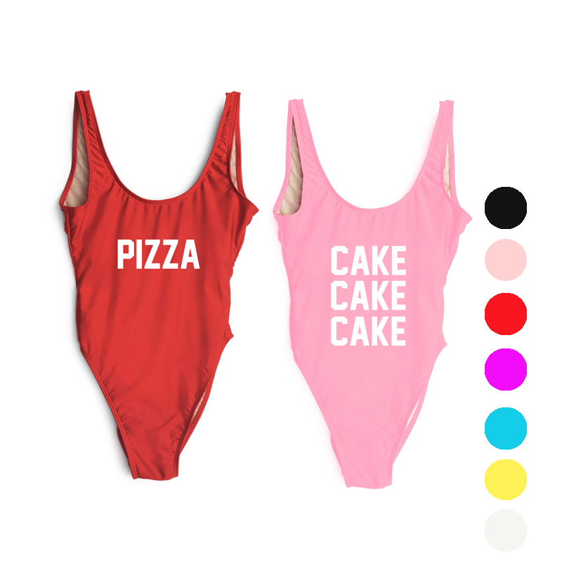 Cake Pizza Sexy High Leg Cut Women Letter One piece Swimsuit Print Swimwear Bathing Suit Bodysuits Beachwear Linning hungover funny letter 2017 brazilian swim suit one piece swimsuit women sports bodysuits ladies high cut swimwear bathing suit