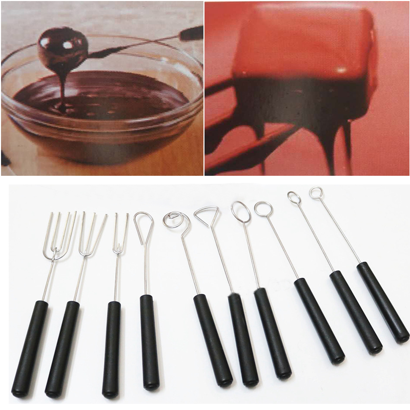 DIY stainless steel Chocolate Dipping Fork set plastic handle Candy Nuts Fruit Cake Fondue chocolate tool