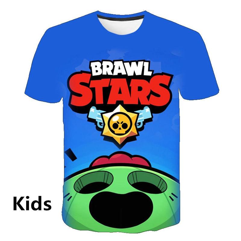 Summer New Anime Game Kids Shooting Game   T     Shirt   Men / Women 3D Printed Brawl Star   T  -  shirt   Cartoon Fashion Short Sleeve Tops