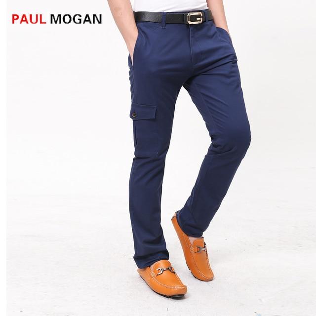 c60bffdf6 Paul Mogan marca 2017 Azul Marino pantalones de los hombres de algodón  Delgado pantalones de vestir