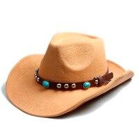 Hommes Femmes 100% Feutre De Laine Sombrero Chapeau Fedora Chapeau Western Cowboy Cowgirl Chapeau Jazz chapeau Soleil Chapeau Toca Cap avec bande de cuir