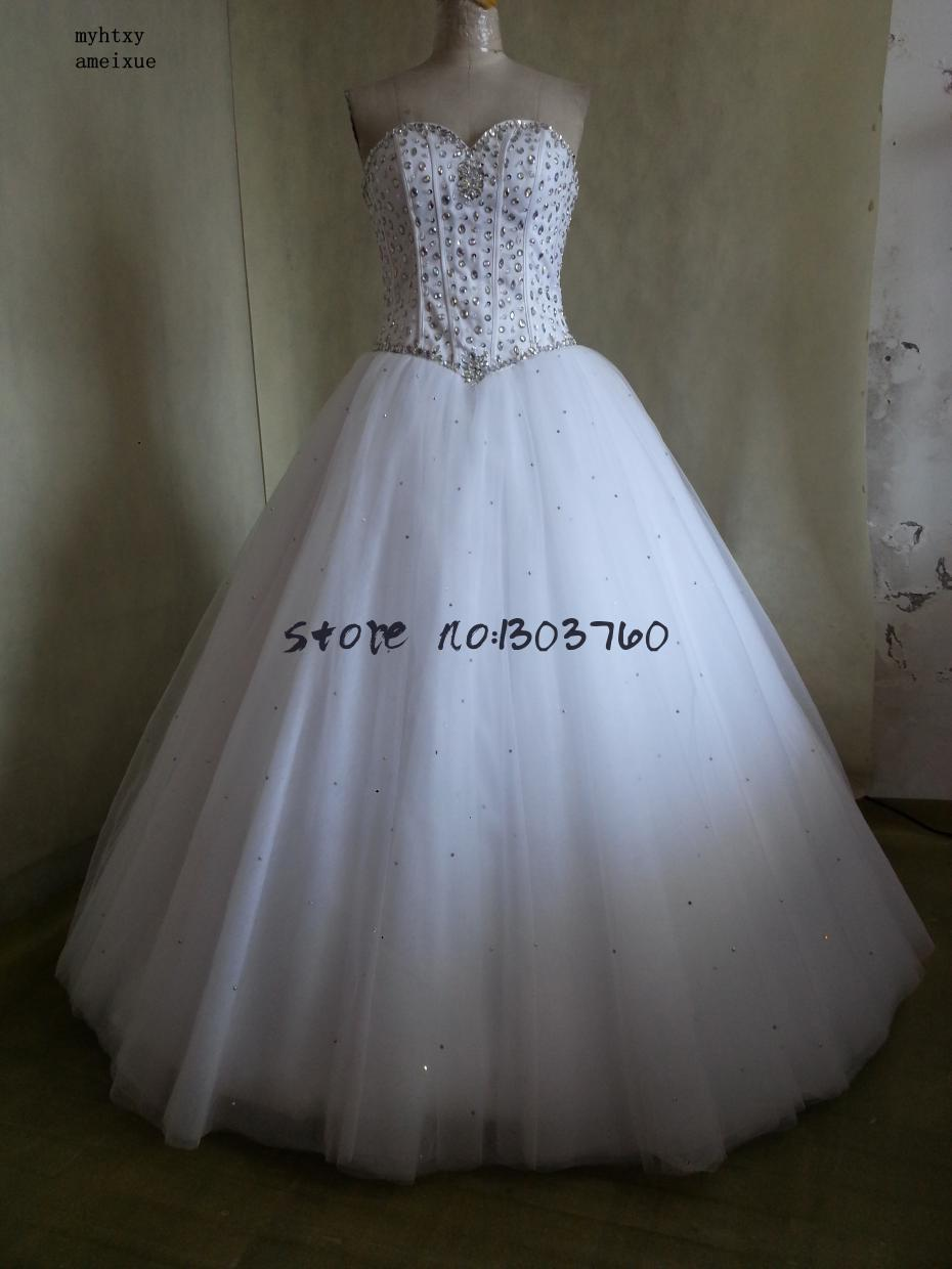 2018 Robe De Mariage Princess Bling Luxury Crystals White Ball Gown ...