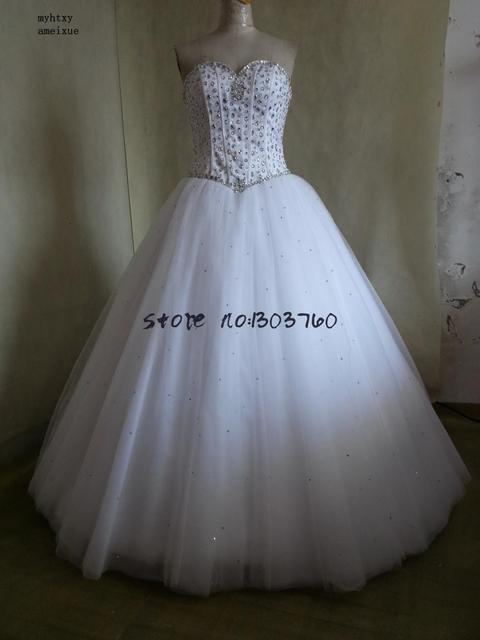 2018 Robe De Mariage Princess Bling Luxury Crystals White Ball Gown