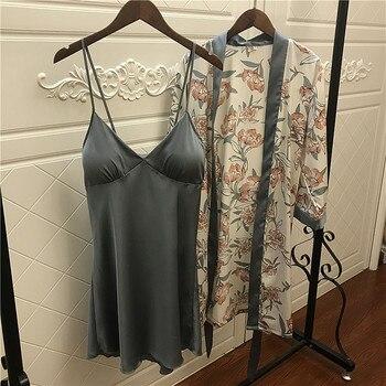 QWEEK Silk Pajamas for Women Floral Womens Pajama Set Summer 2019 Pyjamas Women Satin Sleepwear V-Neck Pijama Mujer 2 Piece Sets 4