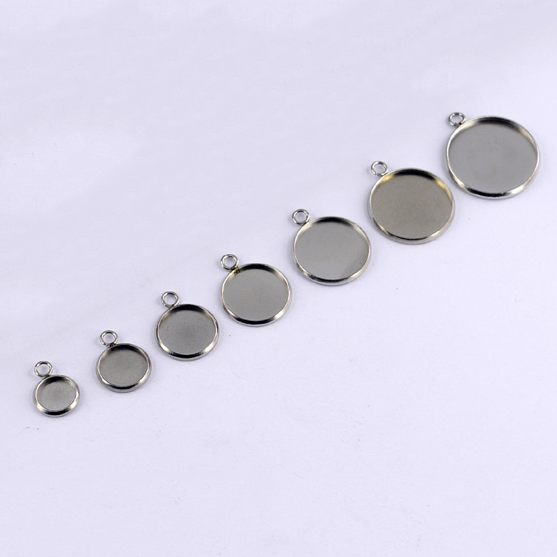 LIEBE ENGEL Round Stainless Steel Pendant Cabochon Setting