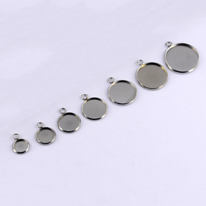 50pcs 6/8/10/12/14/16/18/20/25/30mm Round Stainless Steel Pendant Blank Cabochon Base Setting Bezel DIY Jewelry Making Component