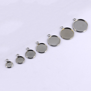 50pcs 6/8/10/12/14/16/18/20/25/30mm Round Stainless Steel Pendant Blank Cabochon Base Setting Bezel DIY Jewelry Making Component - discount item  40% OFF Jewelry Making