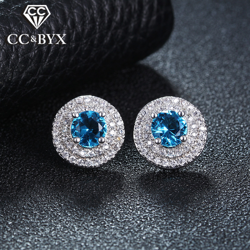 Top Blue Cubic Zirconia Earrings For Women White Gold Color Stud Earing Brincos Fashion Jewelry Boucle d'Oreille Pendientes E046