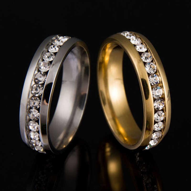 Unisex Rhinestone แหวนสแตนเลสผู้ชายผู้หญิงเงิน/ทองคริสตัลแต่งงานแหวนคู่รักเครื่องประดับ Anillos Mujer Z58208