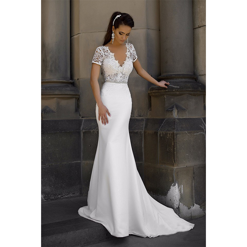 2017 Vintage Mermaid Satin Deep V Neck Wedding Dress Short