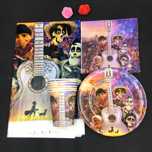 Cartoon coco theme 10Plate+10Cup+10Napkin+1 Tablecove for 10 kids Birthday Party Decoration Tableware Set