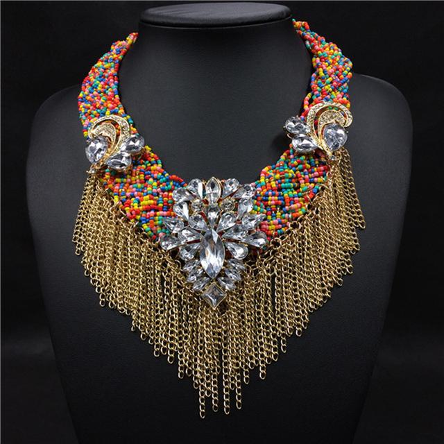2016 Nueva moda de joyería fina colorido collar bohemio étnico borla collar grande largo cuentas de oro gargantilla collar de cristal de las mujeres