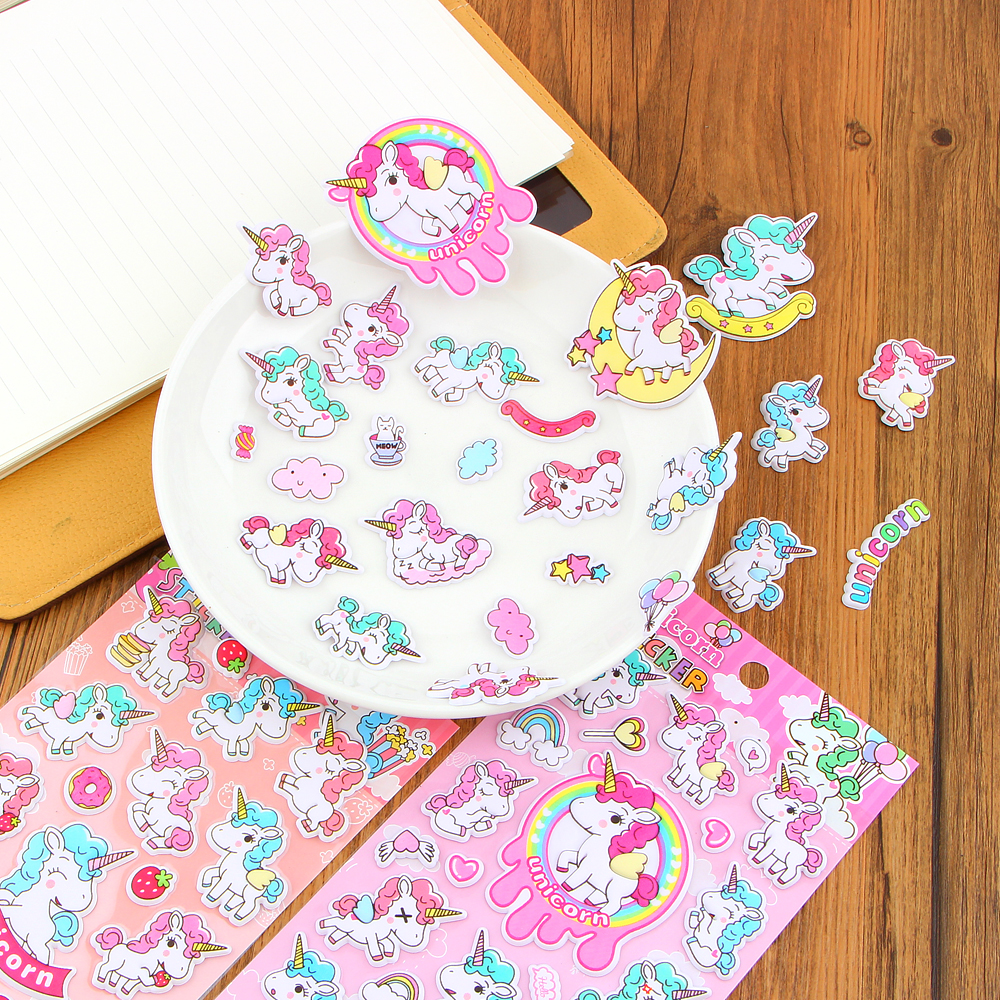 Colorful Cute 3D Unicorn Stickers for Notebook Phone Mixed Cartoon Pvc Waterproof Sticker Stationery Office School Supplies
