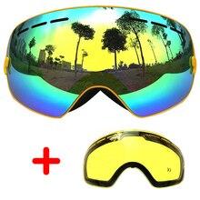 COPOZZ Skibrillen Doppel-objektiv Anti-fog Große Brille Skifahren Unisex Snowboardbrillen Sphärische Maske skibrille UA400 + objektiv