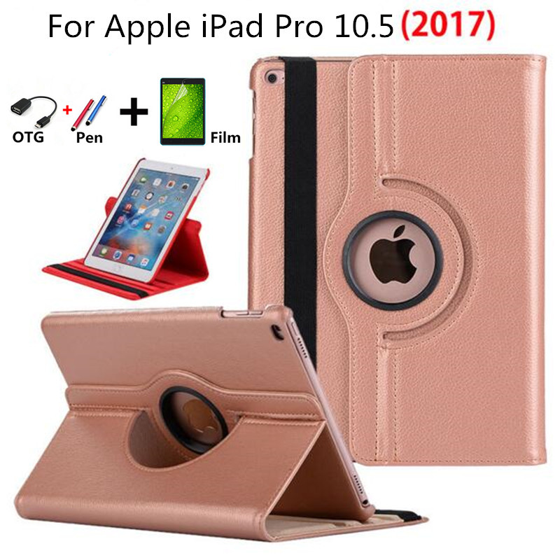 все цены на 2017 new Cover For iPad 10.5 inch Leather Case Model A1701 A1709 PU Leather Flip Smart Stand 360 Rotating Cover+Stylus Pen+flim онлайн