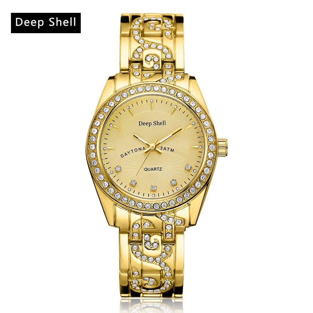 Deepshell Brand Women Fashion Luxury Watches 2017 Gold Silver Steel Strap Crystal Ladies Wristwatches Dress Quartz Clock DS027 kimio brand luxury blue crystal women ladies watch silver steel band dress wacth japan quartz wristwatches