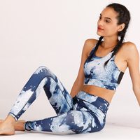 Women Print Yoga Set Tank Top & Leggings Tracksuit Clothing Gym workout bra & pants Outfits Fitness Sport Suit Running Clothes