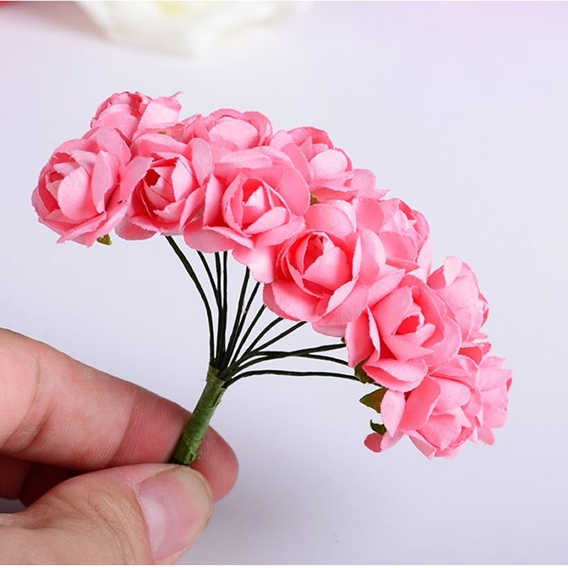 Artificial flowers 1cm paper roses fake flowers diy accessories 12 bundles cheap artificial paper flowers for wedding car fake roses used for decoration candy box mightylinksfo