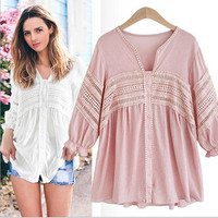 Europe Style Plus Big Increase The Size Of 200 Pounds Fat MM Loose Thin Lace V