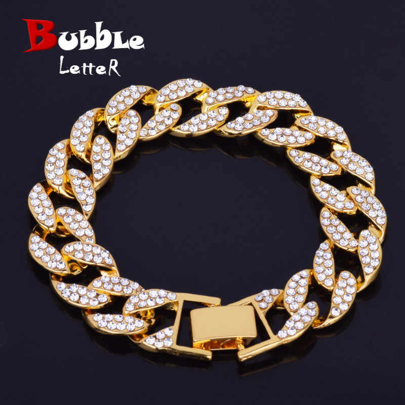 Bling Rhinestone Fashion Men Bracelets & Bangles High Quality Gold Color Iced Miami Cuban Chain  Hip Hop Jewelry