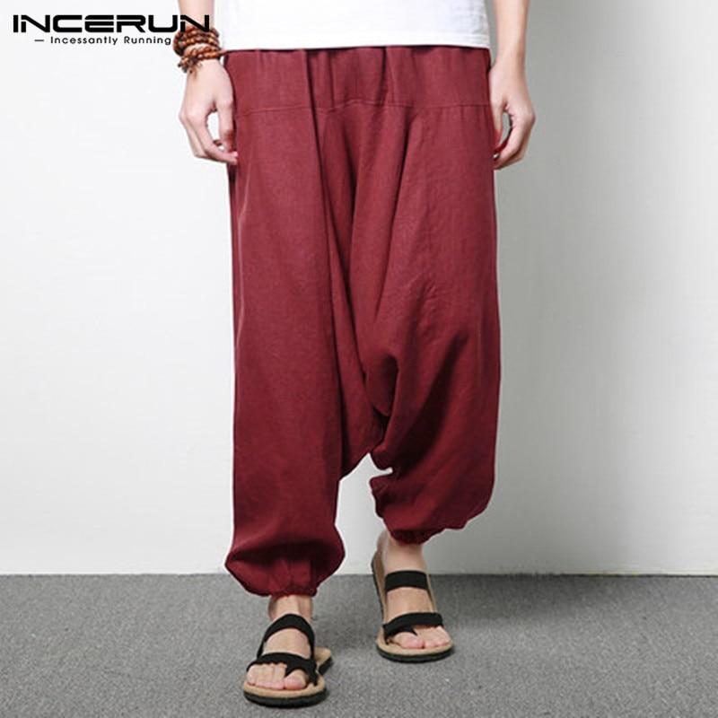 INCERUN Men Women Casual Plaid/&Check Wide Leg Drop Crotch Loose Trousers S-5XL