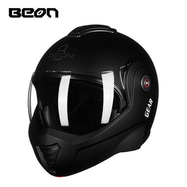 Us 133 24 18 Off Beon Motorcycle Filp Up Helmet Double Lenses Capacete Motocross Casco Moto Casque Moto Vintage 702 In Helmets From Automobiles