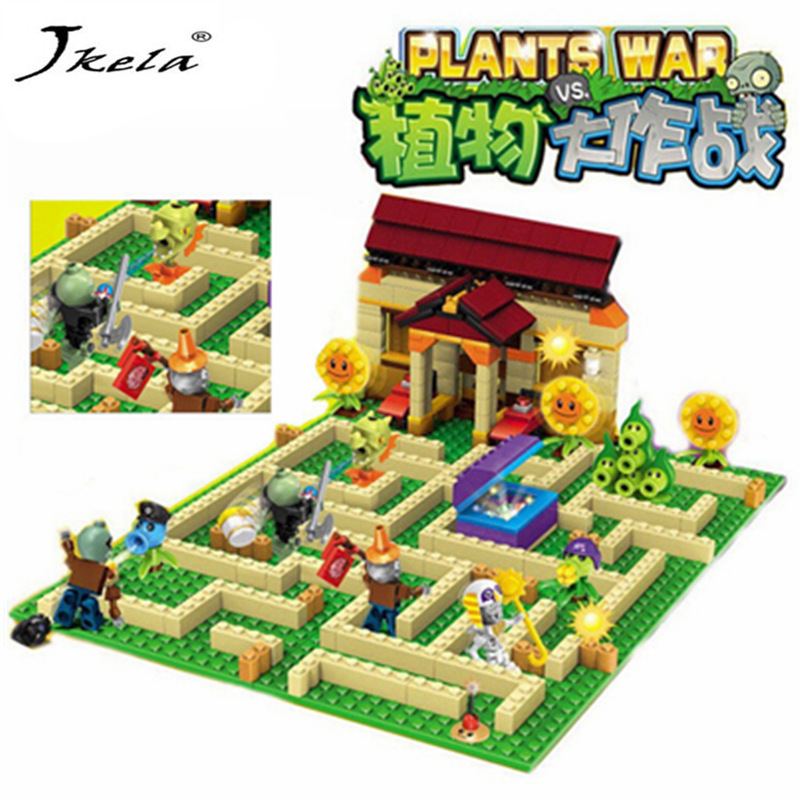 2 style plants vs zombies can shoot struck game action toys & figures Building Blocks Bricks Compatible gifts