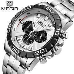 2019 New MEGIR Watch Men Chronograph Fashion Quartz Business Mens Watches Analog Stainless Steel Wristwatch Reloj Hombre Saat