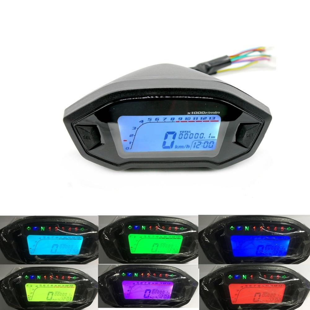 WINTUWAY Universal Motorcycle LCD Digital 13000rpm Speedometer Odometer Backlight For 2,4 Cylinders Meter