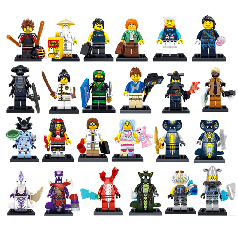 2018 New Lele 31092 24pcs Ninja go Movie KAI Lloyd Sensei Wu Snake Bronk Zane NYA LegoINGly City Man Blocks gift Kids Toys