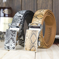 LGF13232  SNAKE  automatic belt  Serpentine  cowhide genuine leather  double stitched Men's  Ratchet Belt