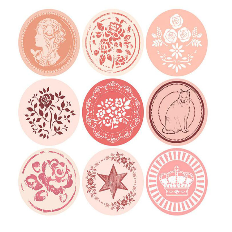 2pc/package, New Retro Round Waterproof Seal Stickers Children Stationery Diy Cake Room / Creative Envelope Sealing Stickers