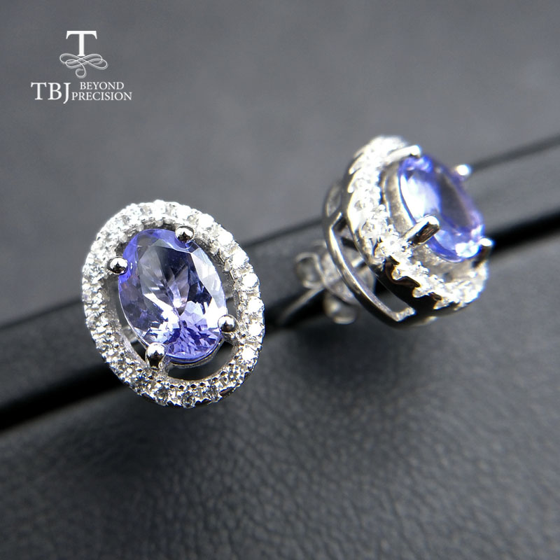 TBJ,Small romantic earring with natural tanzanite gemstone in 925 sterling silver lovely birthday gift for women girlfriend ladyTBJ,Small romantic earring with natural tanzanite gemstone in 925 sterling silver lovely birthday gift for women girlfriend lady