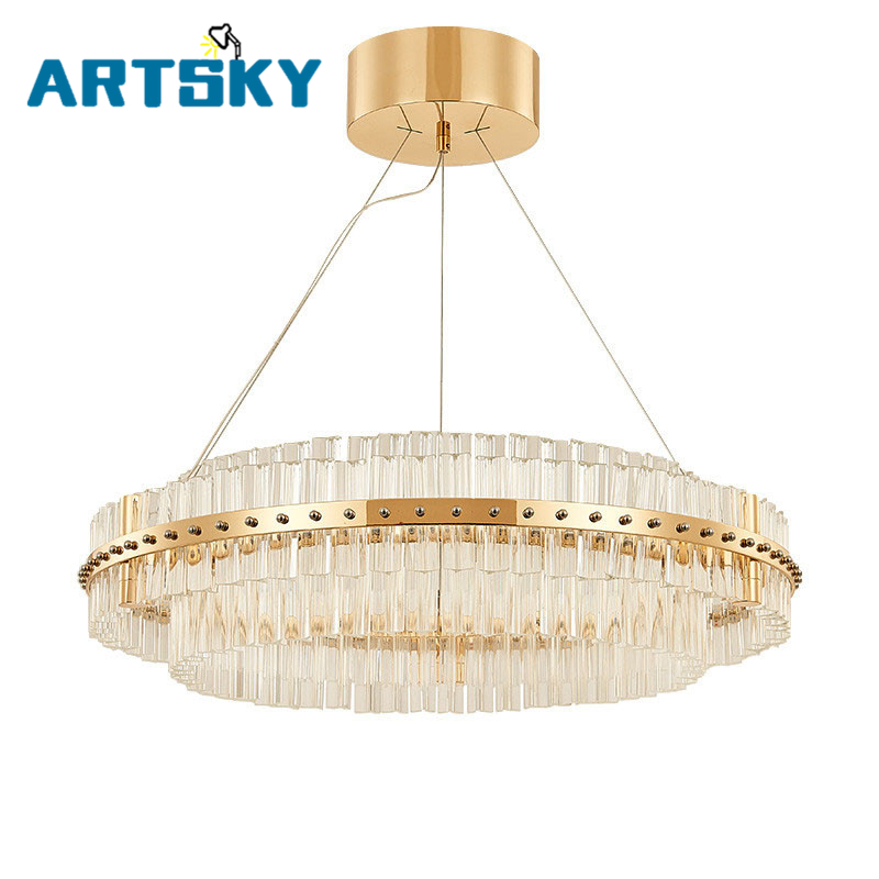 Art Deco LED Crystal Pendant Light for Hotel Hall Dining Room Parlor Pendant Lamp Chrome/Gold Restaurant and Pub Hanging Lamp