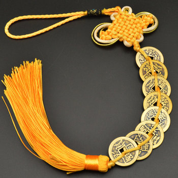 Chinese manual Knot Fengshui Lucky Charms Ancient I CHING Copper Coins Mascot Prosperity Protection Good Fortune Home Car Decor 14