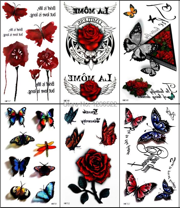 5pcs 임시 3D 문신 스티커 다채로운 나비 로즈 Tatoo Tatuagem 토템 여성을위한 피부 미용 비치 바디 아트