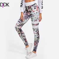 DIDK Floral Print Striped Skinny Leggings Women High Waist Fitness Sporting Leggings 2017 Exercise Casual Pants