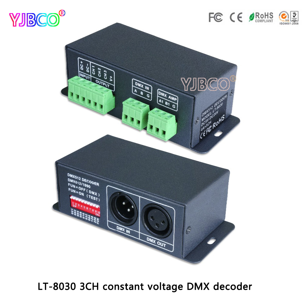LTECH led comtroller LT-8030 LED constant voltage DMX-PWM Decoder DC5-24V input;4A*3 channel output for led lamps lt 810 10a led constant voltage dmx pwm decoder 1ch dimming dedicated 10a 1channel output