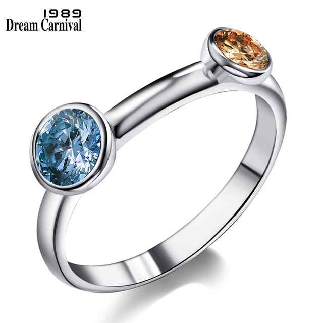 DreamCarnival 1989 Champagne Blue Two Color CZ Ring for Women Trendy Anillos Muj