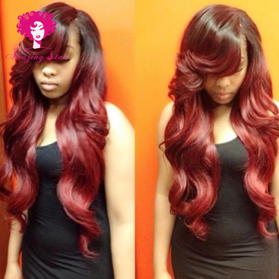 Red Weave Hair Ombre Queen Hair Brazilian Body Wave Two Tone Human