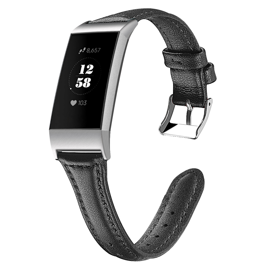 Genuine Leather Band Bracelet for Fitbit Charge 3 Replacement Watch Band For Fitbit Charge 3 fitness Tracker For Women Men bracelet