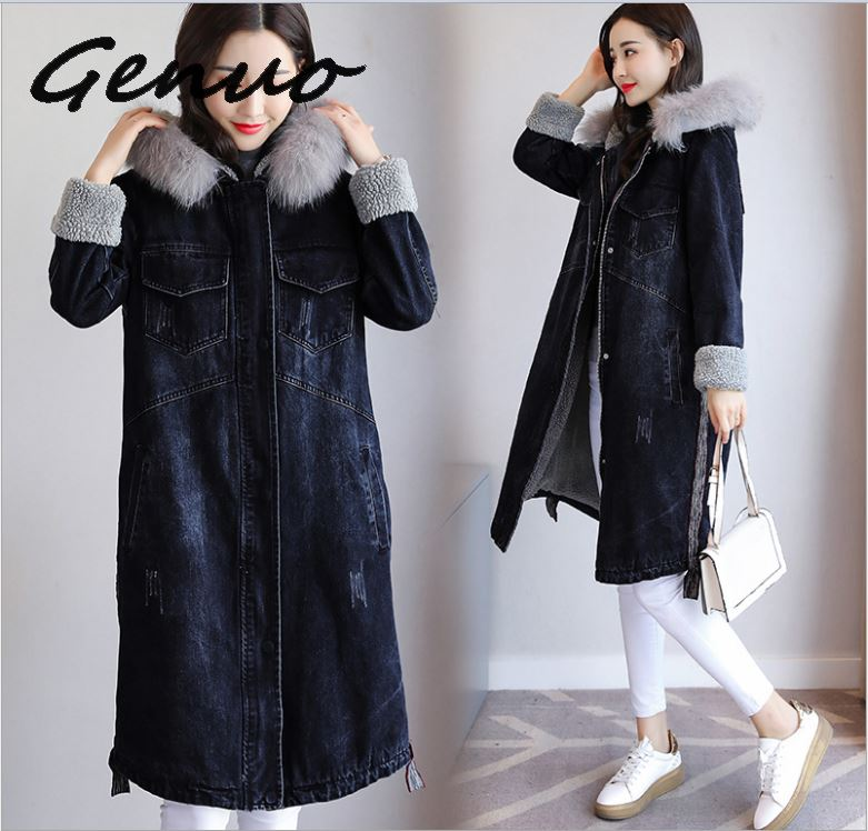 Winter Denim Jacket For Women Hooded Thick Lambs Wool long jackets women Coat Korean style Plus Size 3XL Fashion Cotton Coat in Parkas from Women 39 s Clothing